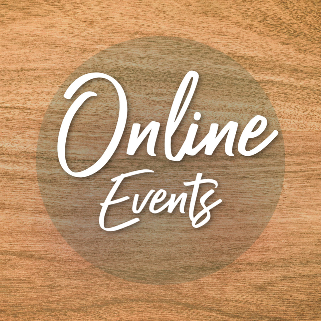 Online events on woodgrain background